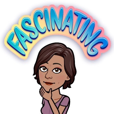 bitmoji of author rubbing her chin with the word