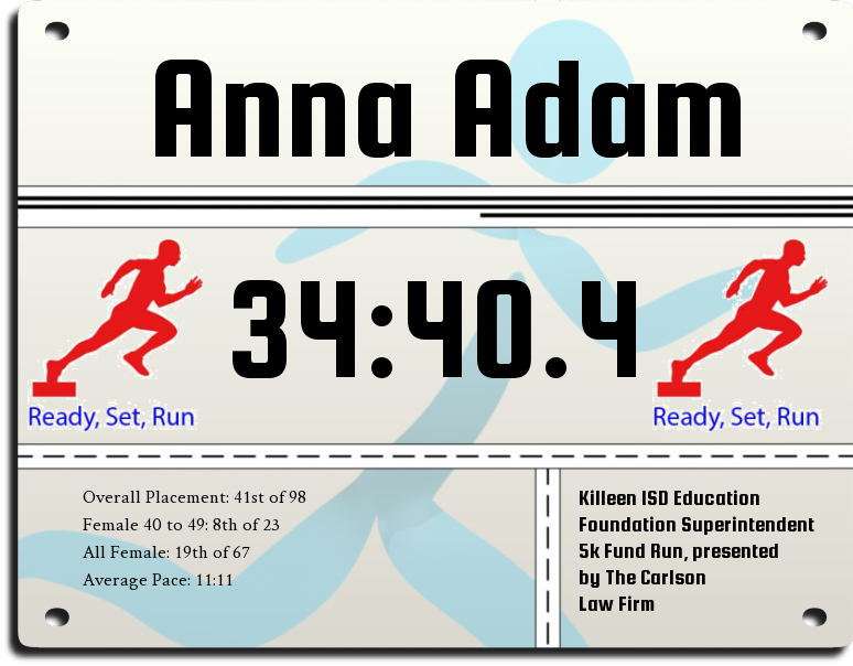My ofifical time for 2018, 34 minutes, 40.4 seconds