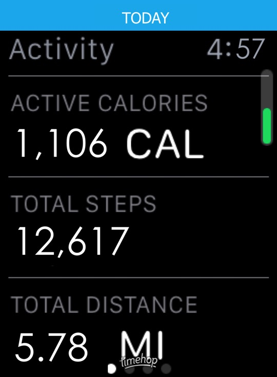 Apple Watch screenshot showing 1,106 active calories, 12,617 steps and 5.78 miles