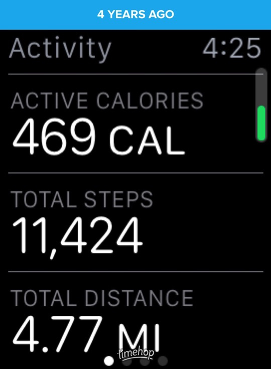 Apple Watch screenshot showing 469 active calories, 11,424 steps and 4.77 miles